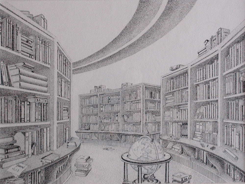 La Bibliotheque The Library by Henri Souffay